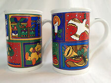 90s CHRISTMAS COFFEE MUGS Limited edition by Fine Works Designs set of two