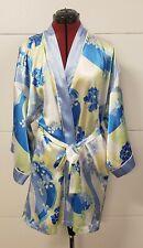 Oscar De La Renta Pink Label Satin Floral Short Wrap Robe Belted Size L-XL