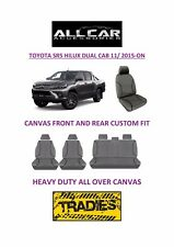 Canvas Car Seat Covers Front&Rear Custom Fit Toyota Hilux SR5 Dual Cab 2015-On