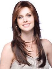 100% Real Hair! Sexy Light Brown Natural Straight Human Hair Women's Long Wig