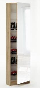Tall Shoe Hallway Cabinet Mirrored 6ft Oak Glass Front 180cm Shoe Storage