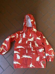 Mini Rodini Rain Coat Jacket Red  With Bunnies Size 8-9