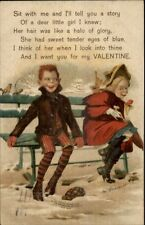 M. Greiner - Boy & Girl Flirt on Bench - Valentine c1905 Postcard