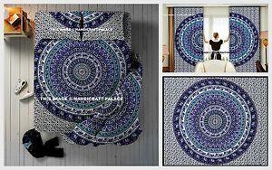 5 PC Set Indian Duvet Cover, Curtains Tapestry, Pillows Set Mandala Bohemian Art