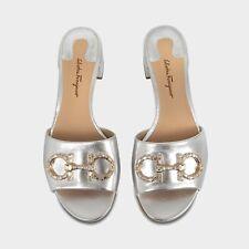 "Salvatore Ferragamo"" Lampio"" Crystal Embellished SIlver Leather Sandal 6B"