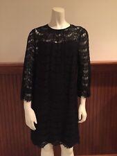 Milly Black Lace Dress with 100% Silk Slip - Size 8