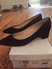 Manolo Blahnik Lisqui Quilted Suede Block Heel Pumps, Size 38