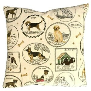 """Puppy Cushion Cover Top Dog Best in Show Woven Beige Grey Cotton Fabric 16"""" 18"""""""