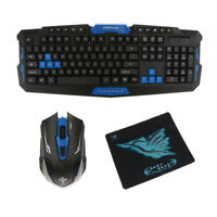 Wireless Gaming Keyboard &Mouse Set for PC With Mouse Pad Black & Blue