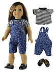 """Doll Clothes for 18"""" American Girl Doll Handmade Denim Suspender+Black Shoes"""