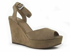 Aqua Women's Ava Ankle Strap Platforms Suede Light Brown Size 7.5 M