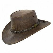 Leather Stonewashed Brown Kangaroo Hat cowboy style westren aussie