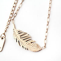 New 18K Rose Gold Filled Women's Filigree Leaf Feather Pendant Necklace Gift