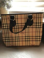 100% Authentic BURBERRY Nova Check Beige PVC Leather Tote Hand Bag /p429