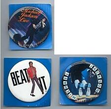 MICHAEL JACKSON 3 LARGE 2 INCH PINS PINBACK BUTTONS AND PROMO DISPLAY SIGN 1980s