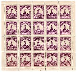 COLOMBIA - SCADTA - COSADA - CORREO RAPIDO SANTANDER - 20c SHEET - 1928 RRRR