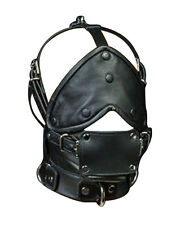 GENUINE LEATHER FACE MUZZLE HOOD MASK