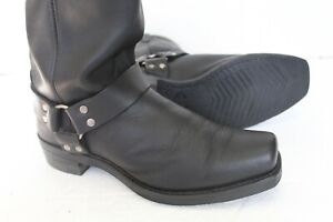 Vintage Men's Black Harness Biker Western Square Boots, Size 11.5 D Made in USA.