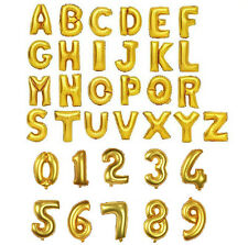 """16"""" 40"""" Letter & Number Foil Balloons Birthday Wedding Party Decor Gold Silver"""