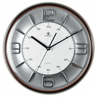 PERFECT - Large Stylish Wall Clock, Brown Frame / Silver and White Face, H.Q.