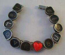 Vintage Typewriter Key Bracelet LOVE BUG 11 Glass Keys Hand Made OOAK Red Heart