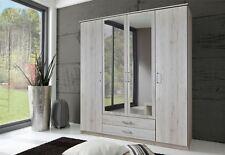 German Driftwood White Oak 4 Door 2 Drawer Mirror 180cm Wardrobe Shabby Chic