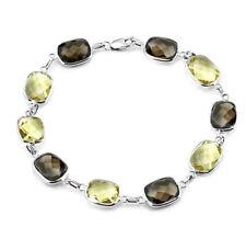14k Oro Blanco Piedra Preciosa pulsera con limón y Ahumado Topacio 18.4cm