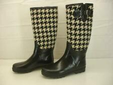 Womens sz 8 M Banana Republic Black Houndstooth Rubber Rain Boots Knee High Tall