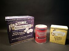 Antique Vintage Style Set of 3 Advertising Tin Boxes Marshmallow Sugar Coconut