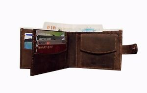Mens Distressed Leather Wallet Card Holder Coin Pocket Oiled Brown Hunter New