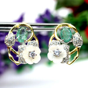NATURAL GREEN EMERALD MOTHER FO PEARL & CZ TWO TONE EARRINGS 925 SILVER