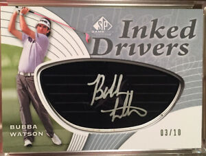 2012 SP Game Used Golf Bubba Watson RC SP Auto 2/10 Inked Drivers Black Face /10