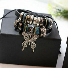 Jewelry Infinity Leather Butterfly Charm Silver Tone Bead Bracelet Bangle New ID