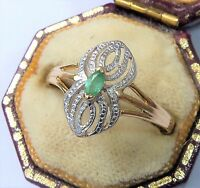 Art Deco Style 18ct Gold & Emerald Ring, Size O