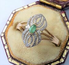 French 18ct Gold Emerald Marquise Ring, Size O