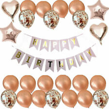 ROSE GOLD HAPPY BIRTHDAY BUNTING BANNER FOIL BALLOONS DECORATIONS SET