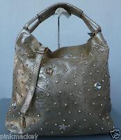 Handtasche Beutel Schultertasche Stern Strass Nieten IT-Bag gold metallic NEU