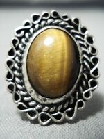 AUTHENTIC VINTAGE NAVAJO TIGER'S EYE STERLING SILVER RING