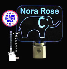 "Kids Personalized Elephant Night Light, Animal, kids lamp-Gift  3/8"" Acrylic"