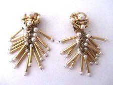 anciennes boucles d'oreille clips métal doré & perles fantaisies