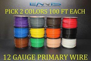 12 GAUGE WIRE ENNIS ELECTRONICS PICK 2 COLORS 100 FT EA CABLE AWG COPPER CLAD