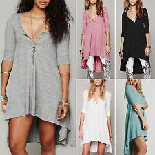 Womens V Neck Loose 3/4 Sleeve Cotton Tops Hem Shirts Tunic Dress Casual Ladies