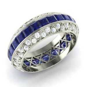3.70 Ct Real Diamond Blue Sapphire Wedding Eternity Band 14K White Gold Size 5