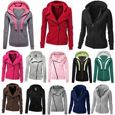 Womens Hoodies Sweatshirt Hooded Jumper Pullover Top Casual Zip Up Jacket Coat