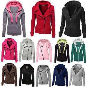 Womens Hooded Tops Zip Up Jacket Sweatshirt Hoodie Outwear Casual Coat Plus Size
