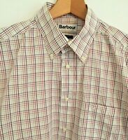 Barbour Check Button Down Collar Long Sleeve Lightweight Cotton Shirt Size Large
