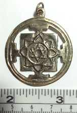 Sri Lakshmi Yantra Mandala Brass Pendant, Handmade in Nepal Free Shipping in USA