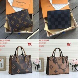Women Fashion Brown Checked Handbag Zip Backpack Shoulder Bag Wallet Gift NEW