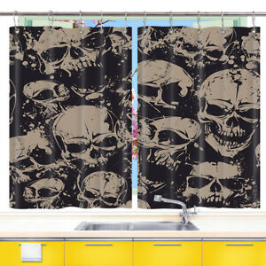 Gray Horror Human Skull Kitchen Curtains 2 Panel Set Decor Window Drapes 55x39In