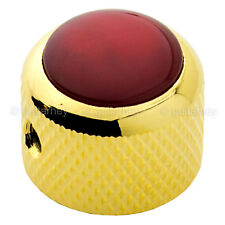 NEW (1) Q-Parts Guitar Knob GOLD with ACRYLIC RED PEARL on Dome KGD-0057